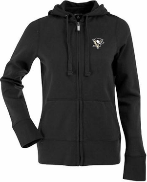 Pittsburgh Penguins Womens Zip Front Hoody Sweatshirt (Team Color: Black)