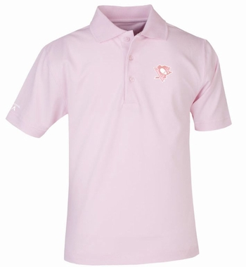 Pittsburgh Penguins YOUTH Unisex Pique Polo Shirt (Color: Pink)