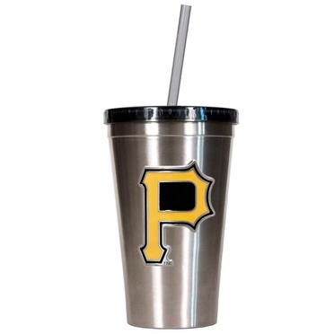 Pittsburgh Pirates 16oz Stainless Steel Insulated Tumbler with Straw