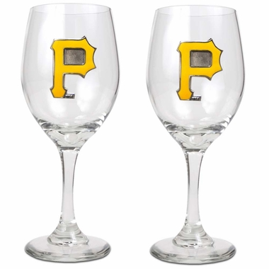 Pittsburgh Pirates 2 Piece Wine Glass Set