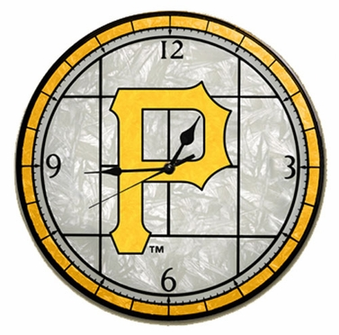 Pittsburgh Pirates Art Glass Clock