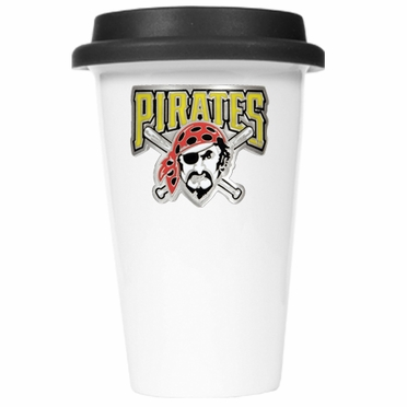 Pittsburgh Pirates Ceramic Travel Cup (Black Lid)