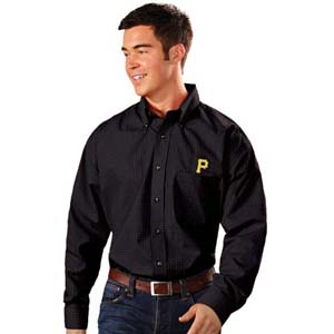 Pittsburgh Pirates Mens Esteem Check Pattern Button Down Dress Shirt (Team Color: Black) - Small