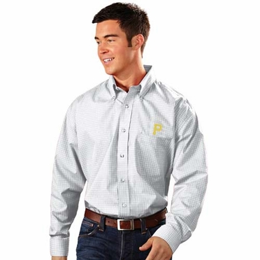 Pittsburgh Pirates Mens Esteem Check Pattern Button Down Dress Shirt (Color: White)