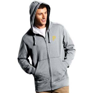 Pittsburgh Pirates Mens Signature Full Zip Hooded Sweatshirt (Color: Gray) - Small