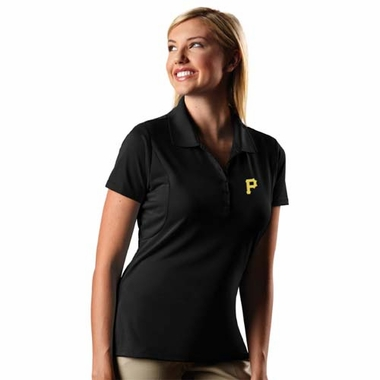 Pittsburgh Pirates Womens Pique Xtra Lite Polo Shirt (Team Color: Black)