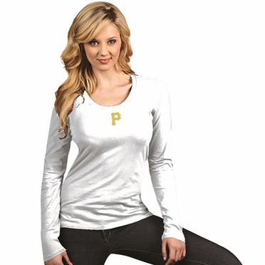 Pittsburgh Pirates Womens Relax Long Sleeve Tee (Color: White)