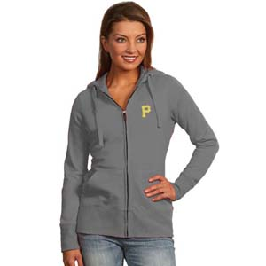 Pittsburgh Pirates Womens Zip Front Hoody Sweatshirt (Color: Gray) - Medium