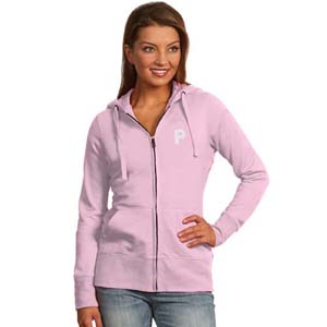 Pittsburgh Pirates Womens Zip Front Hoody Sweatshirt (Color: Pink) - Large