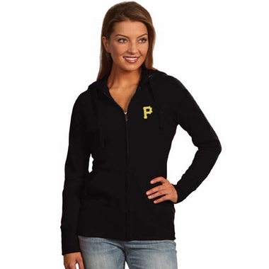 Pittsburgh Pirates Womens Zip Front Hoody Sweatshirt (Team Color: Black)