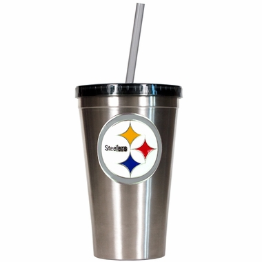 Pittsburgh Steelers 16oz Stainless Steel Insulated Tumbler with Straw