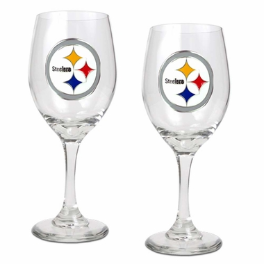 Pittsburgh Steelers 2 Piece Wine Glass Set