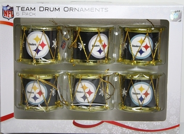Pittsburgh Steelers 2012 Plastic Drum 6 Pack Ornament Set