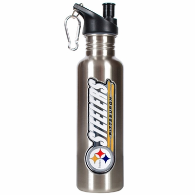Pittsburgh Steelers 26oz Stainless Steel Water Bottle (Silver)