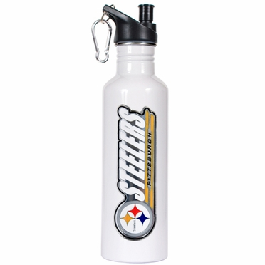 Pittsburgh Steelers 26oz Stainless Steel Water Bottle (White)
