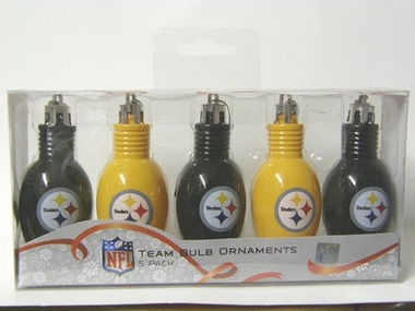 Pittsburgh Steelers 5 Pack Bulb Ornaments