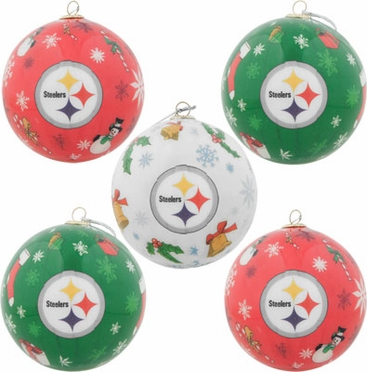 Pittsburgh Steelers 5 Pack Decoupage Ball Ornament Set