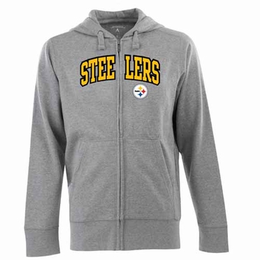 Pittsburgh Steelers Mens Applique Full Zip Hooded Sweatshirt (Color: Gray)