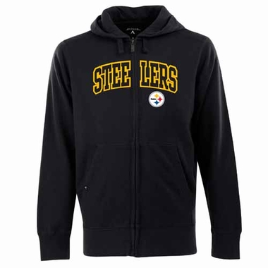 Pittsburgh Steelers Mens Applique Full Zip Hooded Sweatshirt (Color: Black)