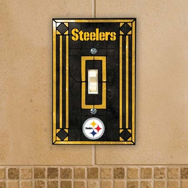 Pittsburgh Steelers Art Glass Lightswitch Cover