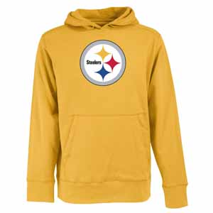 Pittsburgh Steelers Big Logo Mens Signature Hooded Sweatshirt (Alternate Color: Gold) - Large
