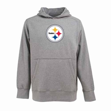 Pittsburgh Steelers Big Logo Mens Signature Hooded Sweatshirt (Color: Gray)