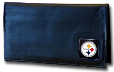 Pittsburgh Steelers Black Leather Checkbook Cover