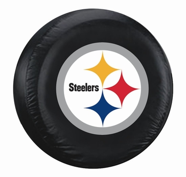 Pittsburgh Steelers Black Logo Tire Cover - Size Large