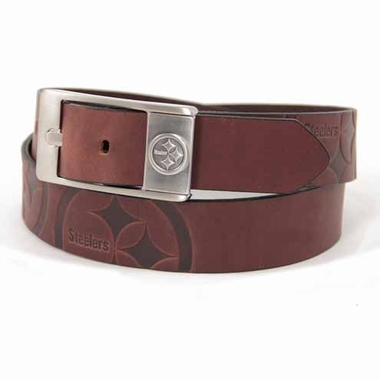 Pittsburgh Steelers Brown Leather Brandished Belt