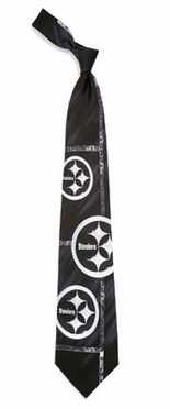 Pittsburgh Steelers Brushed Steel Pattern Silk Necktie