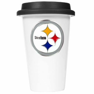 Pittsburgh Steelers Ceramic Travel Cup (Black Lid)