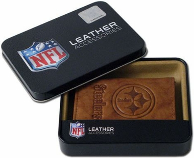 Pittsburgh Steelers Embossed Leather Trifold Wallet