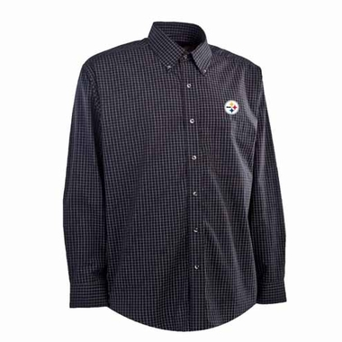 Pittsburgh Steelers Mens Esteem Check Pattern Button Down Dress Shirt (Team Color: Black)