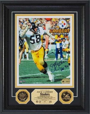 Pittsburgh Steelers Jack Lambert 24KT Gold Coin Autographed Photomint