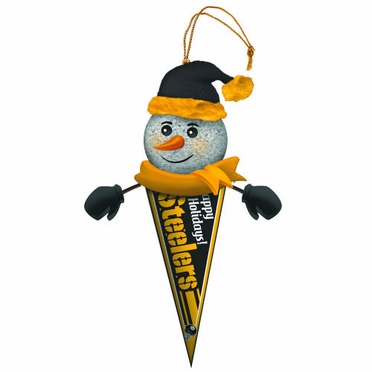 Pittsburgh Steelers Light Up Snowman Pennant Ornament (Set of 3)
