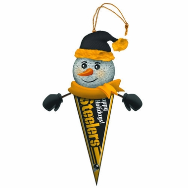 Pittsburgh Steelers Light Up Snowman Pennant Ornament (Set of 2)