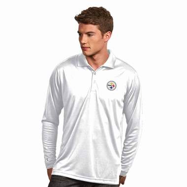 Pittsburgh Steelers Mens Long Sleeve Polo Shirt (Color: White)