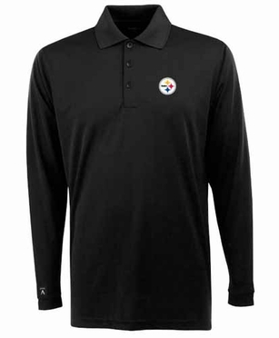 Pittsburgh Steelers Mens Long Sleeve Polo Shirt (Team Color: Black)