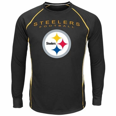 "Pittsburgh Steelers Majestic ""Drop Kick"" Long Sleeve Performance Shirt"