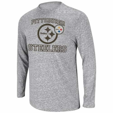 "Pittsburgh Steelers Majestic ""Go Long III"" Long Sleeve Tri-Blend Shirt"