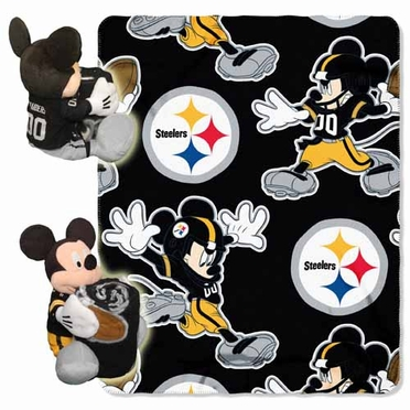 Pittsburgh Steelers Mickey Mouse Pillow / Throw Combo