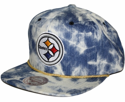 "Pittsburgh Steelers Mitchell & Ness ""Blue Acid Wash Denim"" Snap Back Hat"