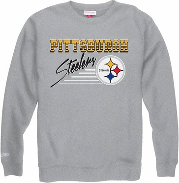 Pittsburgh Steelers Mitchell & Ness NFL Throwback Crew Sweatshirt - Gray