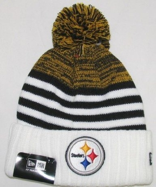 Pittsburgh Steelers New Era NFL Snowfall Stripe Cuffed Knit Hat