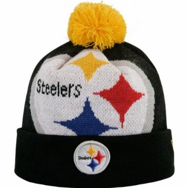 Pittsburgh Steelers New Era Woven Biggie Cuffed Knit Hat