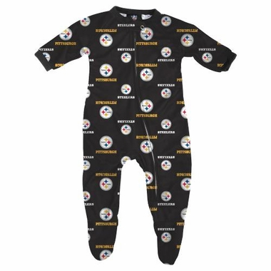 Pittsburgh Steelers NFL Infant Footed Raglan Zip Up Sleeper