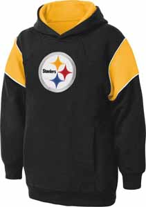 Pittsburgh Steelers NFL YOUTH Color Block Pullover Hooded Sweatshirt - Medium
