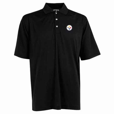Pittsburgh Steelers Mens Phoenix Waffle Weave Polo (Color: Black)