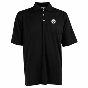 Pittsburgh Steelers Mens Phoenix Waffle Weave Polo (Team Color: Black) - Large
