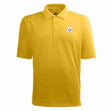 Pittsburgh Steelers Mens Pique Xtra Lite Polo Shirt (Color: Gold)